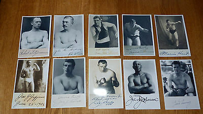 10  ASSORTED PICTURES OF EARLY 1900s BOXERS JOHNSON SULLIVAN FITZSIMMONS SHARKEY