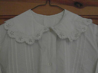 Antique White Cotton Nightdress - Victorian - Lace Trim