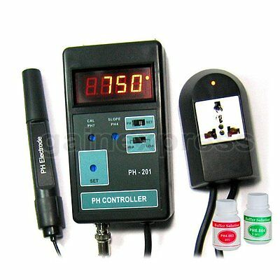 Digital pH Controller + Electrode + Solutions 110V or 220V PH-201