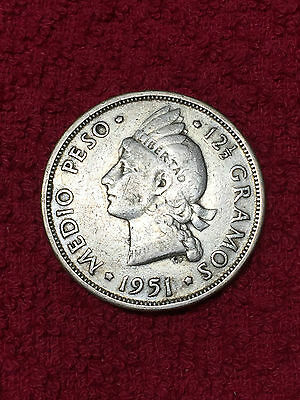 1951 Dominican Republic Medio Peso Silver Coin
