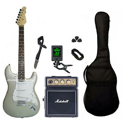 Kit Chitarra Elettrica Stratocaster Silver Amplificatore Marshall Ms-2
