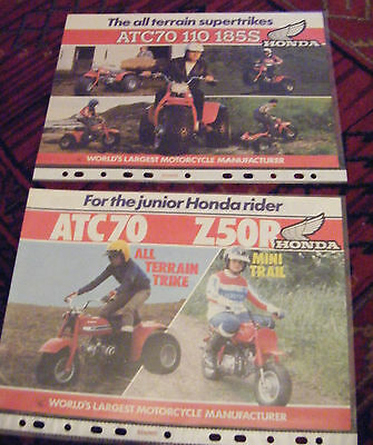 Brochures for Honda all-terrain trikes supertrikes machines ATC70 etc.