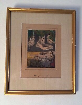 RARE 19th CENTURY FRENCH HAND TINTED EROTIC LITHOGRAPH CIRCA 1840