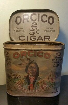 Vintage Orcico Cigar Can tin 5 cent old Rare tobacco metal Pipe Tee Pee Buffalo