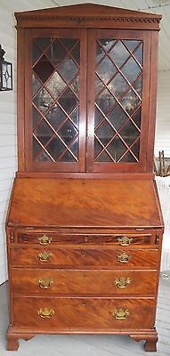 1780 Antique Chippendale Desk Secretary Top Dovetailed Case Walnut