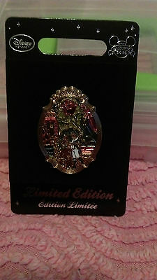 Disney Pin New On Card Limited Edition Beauty And The Beast Stain Glass Window