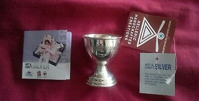 Solid sterling silver egg cup, 925, hallmarked, handmade, NEW