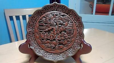 Carved Chinese Lacquer Lotus Plate
