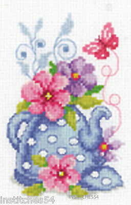 Vervaco Cross Stitch Kit Teapot With Flowers