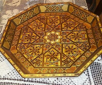 Vintage Wooden Syrian Mosaic Octagonal Serving Tray