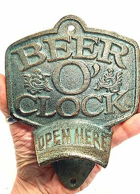 Architectural Cast Iron Beer O' Clock Bottle Opener New Vintage Man Cave Decor