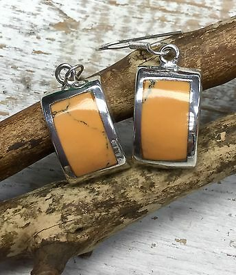 EARRINGS Mexico Sterling Silver Plated Resin Inlay Mustard Colour Fairtrade Gift