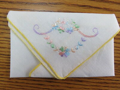 "Vintage Hankie/handkerchief - Embroidered Flowers - White - 10"" By 10"""