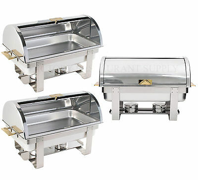 3 PACK Roll Top Deluxe Full Size 8 Qt Stainless Steel Buffet Chafer Chafing Dish