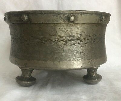 Marked Antique Pewter Pot 1888 MAURITIUS PCP Handmade Hammered