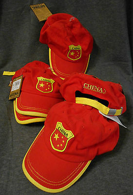 JobLot 5 x NEW CHINESE Baseball Caps - Cotton/Curved Peak Red China NEW/TAGS