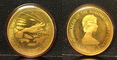 Bahamas $150 Proof Authentic Date 1975 Gold Coin Encased-Spiny Lobster  & Queen