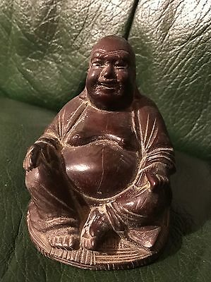 Antique Chinese Old Carved Wooden Laughing Buddha