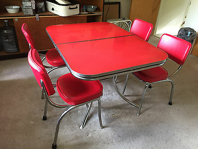 Vintage Red Formica Table w/ Pedestal Leg w/ 6 Red Vintage Chairs + 1 Leaf!!!