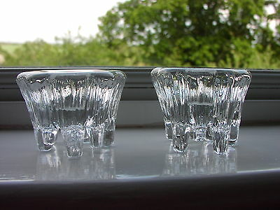 Hadeland Norway Art Glass Ice Textured Single Candle Holders x 2