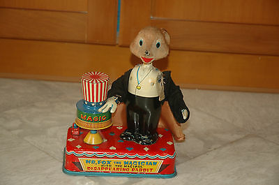 1950S Cragstan Japanese Mr. Fox The Magician Battery Operated Tin Toy
