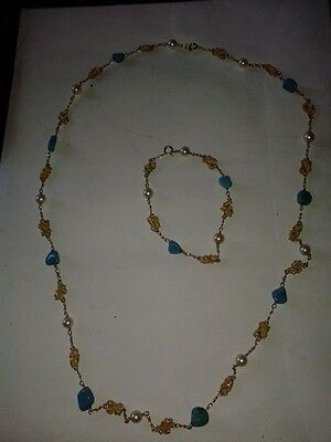 NECKLACE&BRACELET,18ct.GOLD-NUGGET,PEARL&TURQUOISE