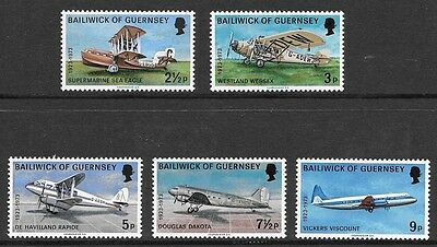 GUERNSEY 1973 50th  ANNIVERSARY OF AIR SERVICES STAMP SET MH