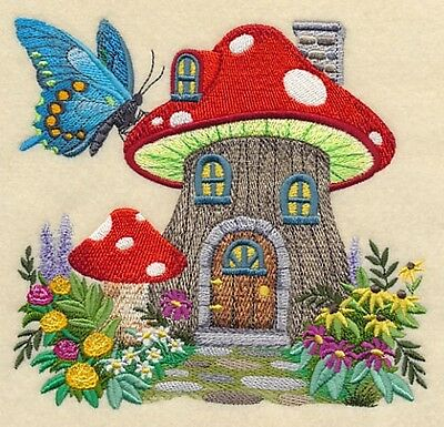 Finished Embroidery Toadstool Fairy House
