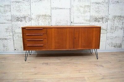 50er 60er jahre teak sideboard anrichte kommode hairpin legs danish eur 489 00 picclick de. Black Bedroom Furniture Sets. Home Design Ideas