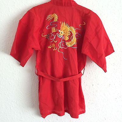 Vintage Kids Chinese Embroidered Red Dragon Robe Dressing Gown Kimono 4-5 Y