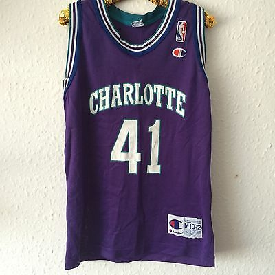 Vintage Kids Charlotte Hornets Glen Rice 1990s Basketball Sport Shirt 8-9