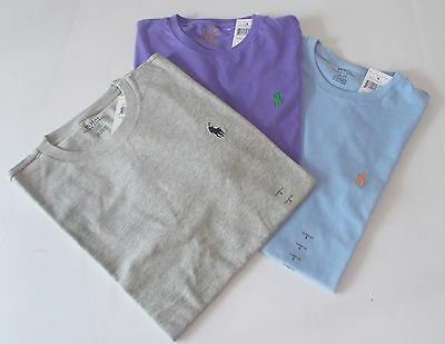 NEW! Mens POLO Ralph Lauren LOT of 3 Small CREW NECK T-SHIRTS Gray Purple Blue S