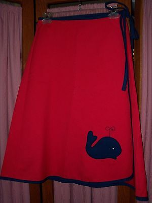 Size L Red Vintage Wrap Skirt with Whale Applique