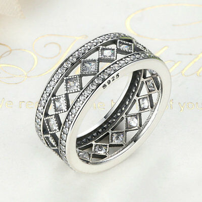 Solid 925 Sterling Silver Vintage Fascination Band Ring with Clear CZ Acccents