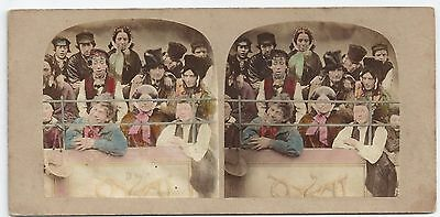 """Stereo Stereoview Genre SEEING THE PANTOMIME """"The Gallery"""" London ca. 1860"""