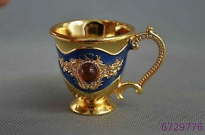 china collectible handwork cloisone carve flower inlay agate auspicious wine cup