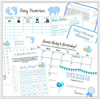 Baby Shower Party Game Pack - Pink/Blue/Yellow - 9 Fun Games -  Boy/Girl/Unisex