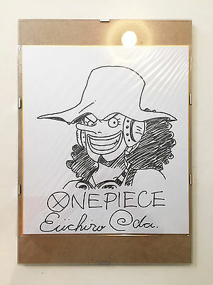 EIICHIRO ODA HAND SIGNED USOPP Drawing + Glass Frame ONE PIECE - EXTREMELY RARE