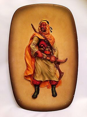 Vintage Bossons Large Gesso Hand Painted Wall Plaque of Berber Warrior