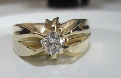 14ct Yellow Gold Heavy Gypsy Diamond Ring .50ct Engagement Ring Mens