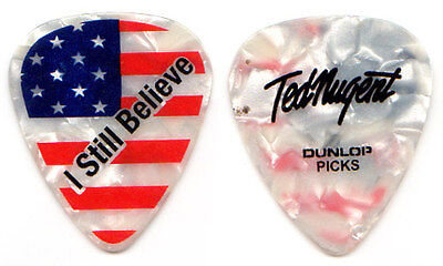 TED NUGENT Guitar Pick : 2014 Tour - I Still Believe American flag signature