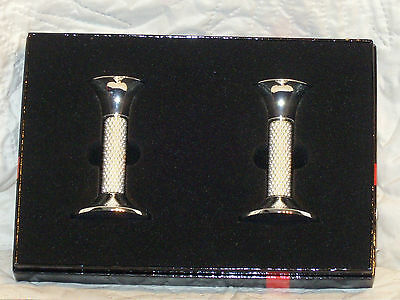 Pair Of Boxed Silver Coloured Candle Sticks With Faux Pearl Detail Perfect Condi
