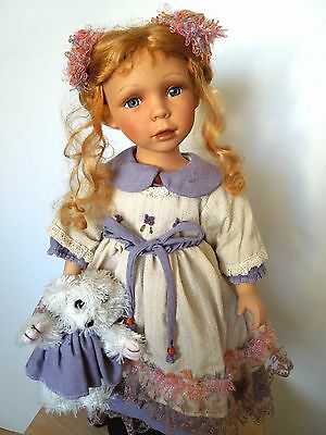 """ALBERON PORCELAIN DOLL REBECCA 22"""" with Teddy Bear BRAND NEW IN BOX, CERTIFICATE"""