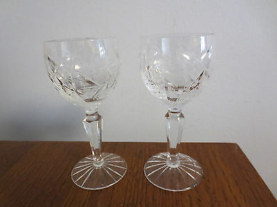 2 Beautiful Vintage Cut Crystal Cordial Or Small Wine Glasses