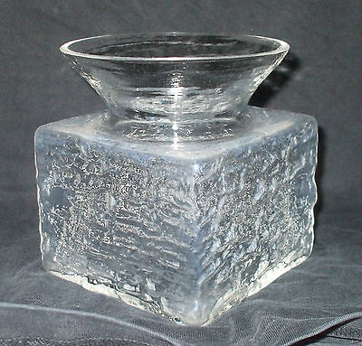 Vintage/Retro 1970s Dartington Crystal Cubic Textured Vase by Frank Thrower