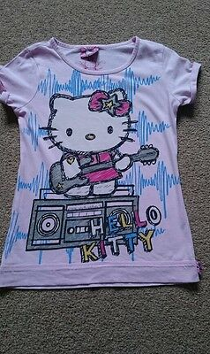 Lovely Girls Hello Kitty Pink Top/T-Shirt Age 8 Years