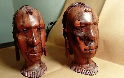 Pair Of Small Vintage African Carved Wooden Heads
