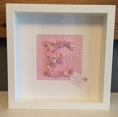 Handmade Button Art Personalised Monogram Name 3D Picture Baby Christening Gift
