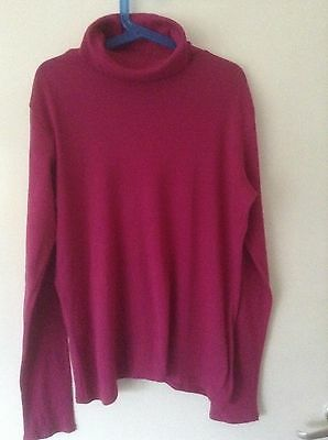 Lands End Girls Long Sleeves Pink Polo Neck Size: 11-12 years
