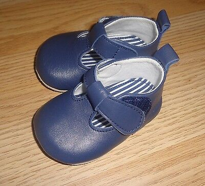 MOTHERCARE Boxed Soft Leather First Shoes Newborn 0-3 Navy Blue Baby Boy Size 0